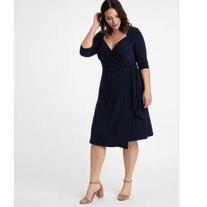 KIYONNA Navy Sweetheart Knit Wrap Dress sz 2X NEW